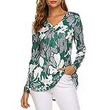 mounter- Pullover da Donna con Stampa e Scollo a V e Bottoni, Stile Casual, a Maniche Lunghe, Verde (Green), 4X-Large