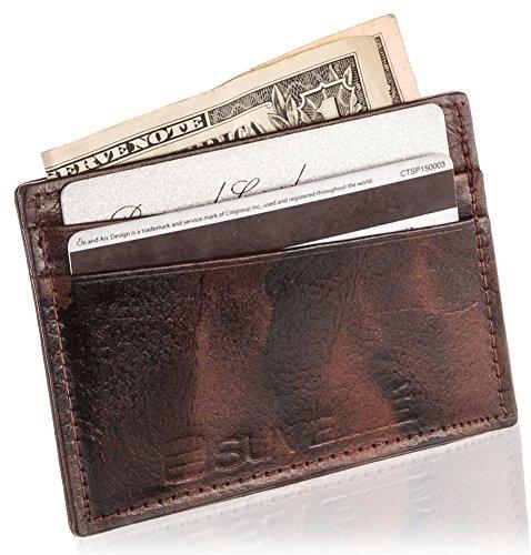 Suvelle Genuine leather Super Slim 5 Credit Card Slots, Business Card Case Wallet (Brown) (Billfold Card Wallet Holder)