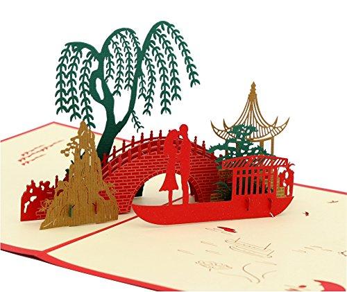 isharecards handgefertigt 3D Pop up Grußkarten China Antiken Kultur Romantische Liebe Weeping Willow,Ancient Pavilion,Small Bridge,Flowing Water,A boat,You and Me... QY012
