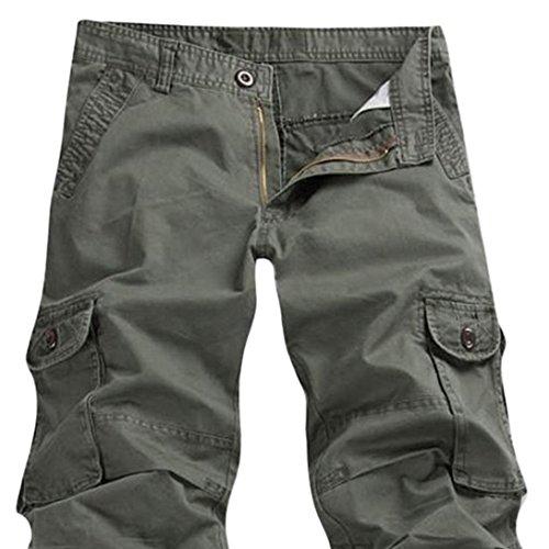 Feoya Herren Kampfhose Wasserwäsche Cargohose Mehrere Tasche Hosen aus Baumwolle Freizeithose Loose-Fit Outdoor Arbeitshosen in verschiedener Farben Grün