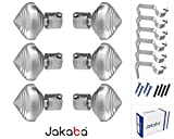 JAKABA Premium Quality Silver Finish Stainless Steel and Alloy Curtain Finials with Heavy Supports - PACK of 12 Pcs. (Finials : 6 Pcs + Supports : 6 Pcs) : Curtain Brackets / Holders for Window / Door - JKB100103