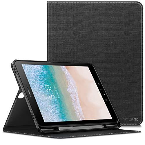 Infiland Supporto Frontale Custodia per Samsung Galaxy Tab S3 9.7 inch(SM-T820/T825) Tablet (Auto Sonno/Veglia, con Protettivo Portapenne),Nero