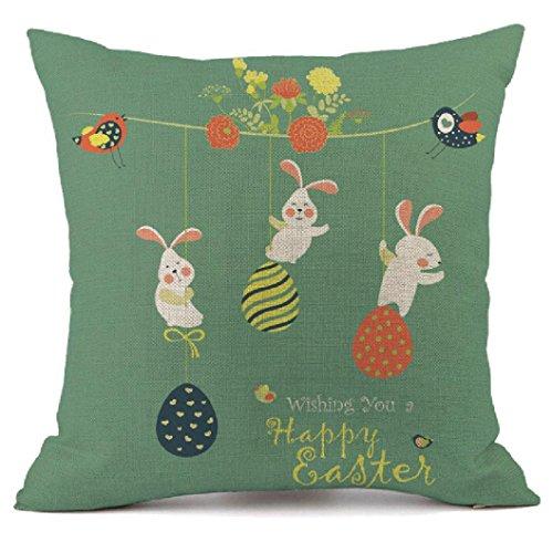 Kissenbezug Ostern Eier Kaninchen Kopfkissen Sofa Lendenkissen Festival Cushion Cover Pillow Cover 45cm x 45cm LuckyGirls (E)
