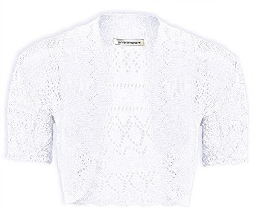Janisramone Girls Kids Short Sleeve New Crochet Knitted Bolero Shrug Ladies Open Cardigan Crop Top