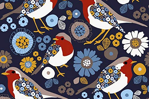 Die Stofftante French Terry Flowery RED Bird dunkelblau 50x150 cm Meterware Red French Terry