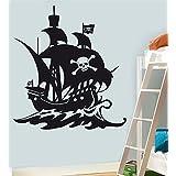 Barco pirata pared pegatinas de vinilo de Arte–por favor elegir su tamaño y color con el menú desplegable a continuación, negro, large