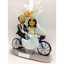 Figura GRABADA de boda novios tandem / bici para tarta PERSONALIZADA