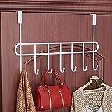 Everline Multi - Functional Steel Over The Door Hook Hanger Organizer/Wall Hook Rack - Black (7 Hook)