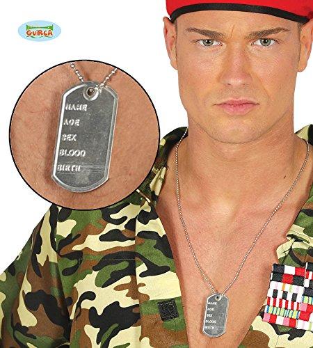 Preisvergleich Produktbild Guirca Soldaten Marke Kennung Dogtags Ausweis Erwachsene Karneval Fasching Party Rocker Biker US Dog Tag Kette Erkennungsmarke für Soldaten-Kostüme Silber Militär Pilot Hundemarke