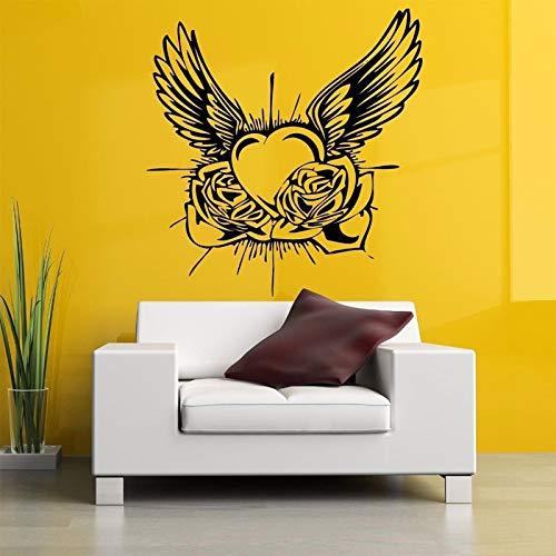 Flügel Tattoo Vinyl Entfernbare Wandaufkleber Für Wohnzimmer Kunst Dekor Hause Wandbilder Wandtattoos Schlafzimmer Wandbilder gelb 57X60 cm ()