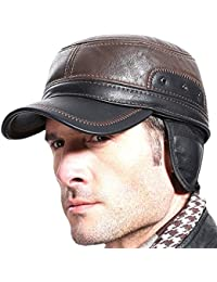 Sumolux Winter Leather Cap with Earflap Military Cadet Army style Hats Flat Top Hat Adjustable for Outdoor Winter