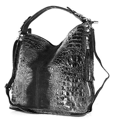 Echt Leder Damen Tasche Kroko Oprik Handtasche Ledertasche Schultertasche (schwarz) - Schwarze Kroko-handtasche