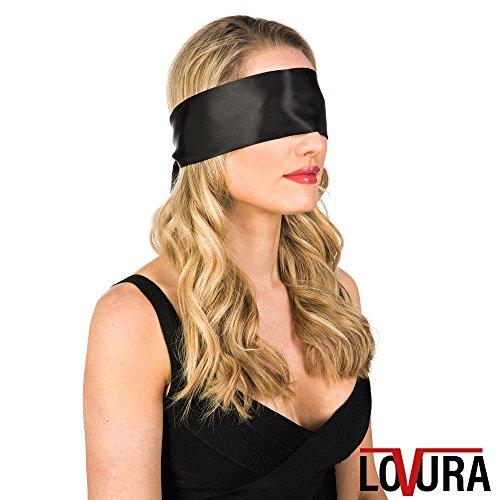 Bequeme Augenbinde in Schwarz - Original LOVURA Sex Fetisch Augenmaske aus Satin für Paare - Auch zum Fesseln - Blickdichte Augenbinde für Erwachsene