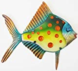 Wall Art - Metal Glass Wall Art – Green Orange Spot Fish