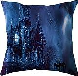 SHUCHANGLE (2pcs/Set Halloween Thema Leinen Kissenbezug Horror Burg Nachtmuster Bunte Dekorative Hause Kissenbezüge