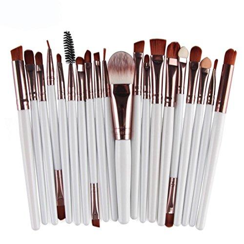 Honestyi 20pcs / set ensemble de pinceaux de maquillage Trousse de toilette (blanc)