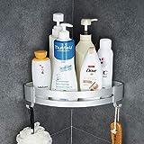 Hoomtaook Accesorios Baño Sin Taladro Estantería de Esquina para Baño Ducha, Pegamento Patentado + Autoadhesivo, Aluminio, Acabado Mate, Estantes (plata 401)