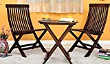 #5: JS Home Decor Set Of 3 Piece Dining Set Folding Chair And Round Table (Walnut Finish)
