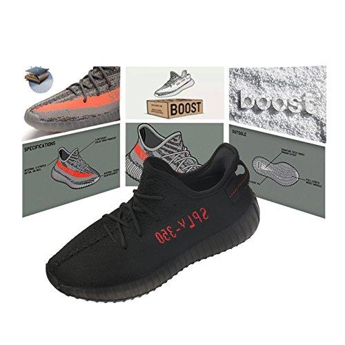 Boost 350 V2 Unisex Uomo Donna Scarpe da Ginnastica Running Sneakers Leggero Traspirante Nero e rosso