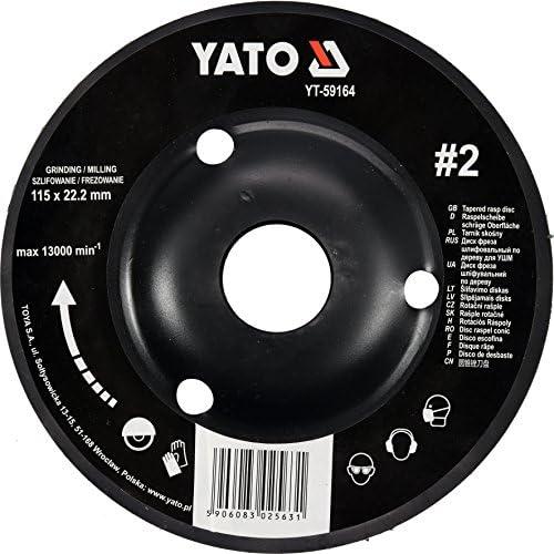 Yato - Disco a raspa professionale per per per smerigliatrice angolare, selezione 115 mm, 125 mm, mola per legno, per lavori artigianali (115 mm nr 1) | Ordine economico  | Durevole  | Tatto Comodo  d25838