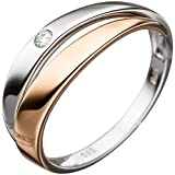 *GIRAHLUTIONS* Damen Ring 585 Gold Weißgold Rotgold bicolor 1 Diamant Brillant Diamantring