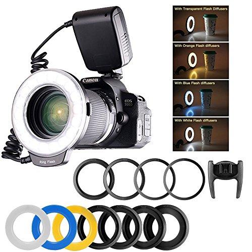 Ringblitz für Canon Nikon Panasonic Olympus Pentax SLR Kameras, 48 Makro LED Ring Blitzlicht Ringblitzleuchte Ringblitz RF-550D Enthält 4 Diffusoren (klar, wärmend, blau, weiß), mit Adapterringen (49mm, 52mm 55mm, 58mm, 62mm, 67mm, 72mm, 77mm) (Ring Mm 77)