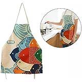 Cisixin Dibujos animados patrón delantales de cocina para mujer en tela de algodón con motivos estampados