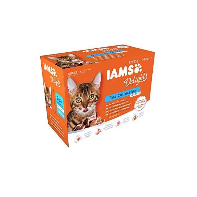 Iams Mer Sea Collection Nourriture Humide en Sauce pour Chat Adulte Toutes Les Races 12 Sachets x 85 g
