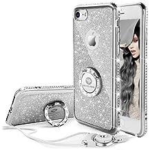 Funda iPhone 7,Banca Correa Para el Cuello Movil Bling Glitter Resplandecer Diamante de Imitación Transparente Caso el iPhone 7- Argenta