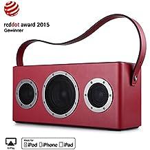 GGMM M4 Altoparlante senza Fili WiFi+Bluetooth Stereo Portatile per Musica in Streaming, Usi Interni ed Esterni, Batteria incorporata, 10 Ore di Autonomia, Potente 40W Audio Driver, Bass Boost, Multiroom Play (Rosso)