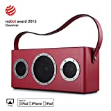 [Upgraded Version] GGMM M4 Airplay Lautsprecher Multiroom Wi-Fi/Bluetooth Lautsprecher 2.1 Outdoor 40W mit Bass, Mfi-verifiziert, Retro Design, Kompatibel Mit Airplay, DLNA, Spotify (Rot)