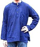 Hemad.De - Chemise Avec Col Mao En Pur Coton - Kurta De Nepal - Bleu - Xl