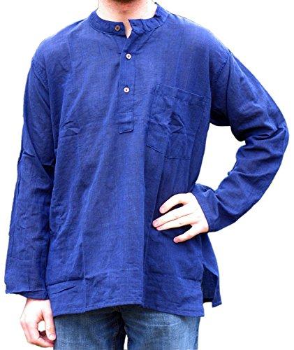HEMAD Herren Hemd Fischerhemd beige blau schwarz S-XXXL reine Baumwolle Blau