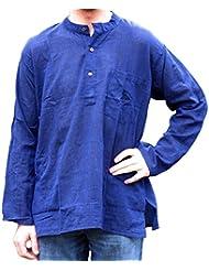 Hemad.De - Chemise Avec Col Mao En Pur Coton - Kurta De Nepal - Bleu