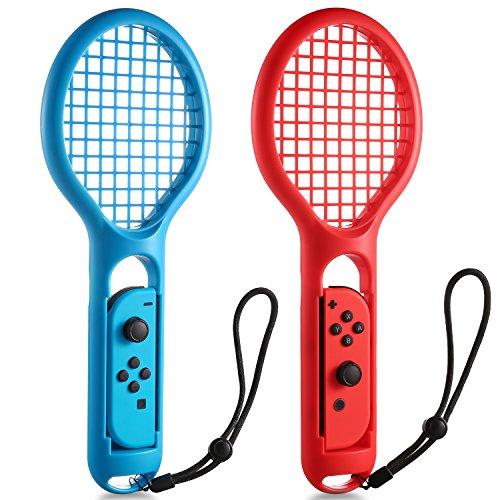 [2 Pièces] IDESION Raquette de Tennis avec Cordon Pour la Console les Manettes Joy-Con de Nintendo Switch Nouveau Type Switch Jeu Convient pour Mario Tennis ACES Bleu et Rouge