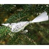Lauschaer Glaskunst-Christbaumkugel Vogel mit gedrehtem Kopf einfarbig (3er Set) (Silber)