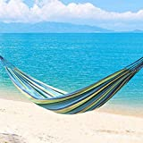 Greenbay 200x80cm Multi-Blue Canvas Hammock Outdoor Camping Travel Swing for Single Person
