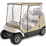 Wasserdicht Superior beige und transparenten Golf Cart Cover Gehäuse Club Auto, EzGo, Yamaha, passend für die meisten Ausziehbares Golf Carts von North East Harbor