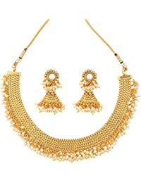 Dancing Girl 1 Gram Gold Jewellery White Pearlish Copper Alloy Necklace Sets Jewellery Sets For Women