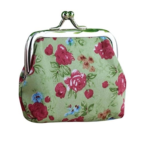 Amlaiworld Frauen Lady Retro Vintage Flower kleine Brieftasche Hasp Handtasche Clutch Bag (grün) (Drucken Make-up Mini-handtasche)