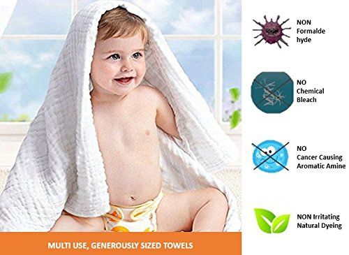 "Premium Baby Muslin Cotton Designer Bath Towel, Blanket, Swaddle - Super Absorbent, Extra Soft to Baby Delicate Skin, 41"" x 41"" (Approx 105 x 105 cms)"