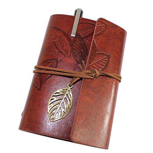Retro Vintage Leaves taccuino rilegato ufficiale a fogli Diario Taccuino con una penna gel - Red-marrone