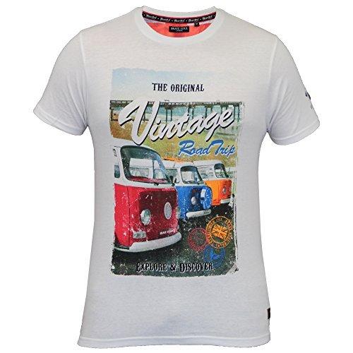 Herren T-shirt Brave Soul Kurzärmelig Vintage Road Trip Reisemobil Aufdruck  Sommer weiß - 149TOUR
