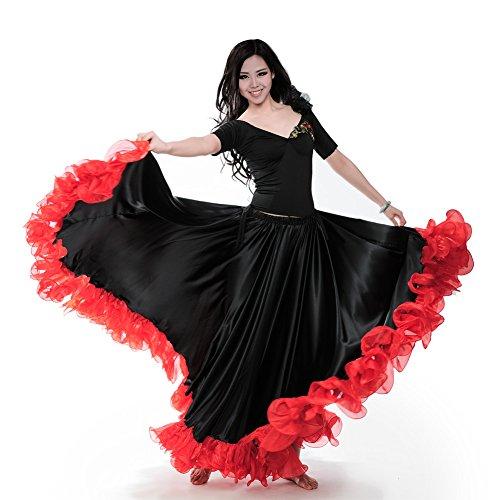 (ROYAL SMEELA Frauen Bauchtanz ATS Tribal 25 Yard Skirt Flamenco Spitze Rüschen Große Swing Röcke Tänzerin Tanzen Kleid Kostüm)