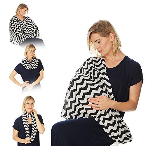 Kiddo Care Stilltuch Still-Schal (grau-weißes Zickzack-Muster)