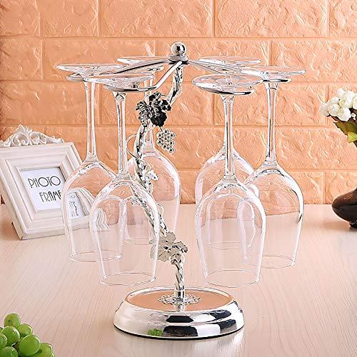 Zzsyso Europäische Schmiedeeisen Weinglas Rack Upside Down Silber Weinkelch Rack Home Dekoration...