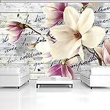 FORWALL Fototapete Vlies Tapete Moderne Wanddeko Magnolie auf Holzbretter VEXXXL (416cm. x 254cm.) AMF2878VEXXXL Natur, Wald, Blumen