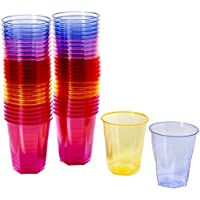 Crystal Rainbow Disposable Party Cups 8.8oz/250ml - Set of 50 Plastic Cups, Polystyrene Cups