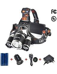 Mifine 6000LM 3 * CREE XM-L T6 LED Lampe Frontale Rechargeable - 2 X 18650 Batterie rechargeable + Câble USB + Fiche EU + Chargeur de voiture - 4 Modes - Pour Randonnées, Camping, Chasse, Lecture, Cyclisme etc.