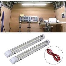 SUPAREE Interior de las luces de la barra de la tira de la lámpara de coches Van Bus Caravan (72 LEDs 12V-84V) con 2 cables de extensión (2pcs)